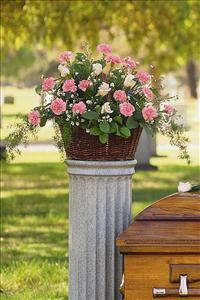 Basket with Pink Flowers by McAdams Floral, Victoria|Cuero|Goliad|Edna|Port Lavaca, Texas (TX)  Funeral Florist