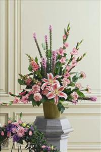 Symmetrical Triangle of Pinks by McAdams Floral, Victoria|Cuero|Goliad|Edna|Port Lavaca, Texas (TX)  Funeral Florist
