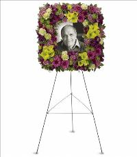 Mosaic of Memories Square Easel Wreath by McAdams Floral, Victoria|Cuero|Goliad|Edna|Port Lavaca, Texas (TX)  Funeral Florist