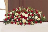 Red & White Full-Couch Spray by McAdams Floral, Victoria|Cuero|Goliad|Edna|Port Lavaca, Texas (TX)  Funeral Florist