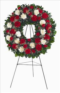 Red & White Carnation Wreath by McAdams Floral, Victoria|Cuero|Goliad|Edna|Port Lavaca, Texas (TX)  Funeral Florist