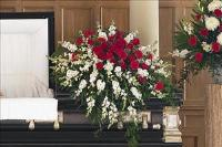 Red & White Half-Couch Spray by McAdams Floral, Victoria|Cuero|Goliad|Edna|Port Lavaca, Texas (TX)  Funeral Florist