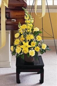 Yellow Triangular Arrangement by McAdams Floral, Victoria|Cuero|Goliad|Edna|Port Lavaca, Texas (TX)  Funeral Florist