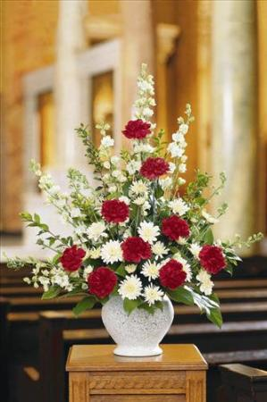 Red & White Fan Shape by McAdams Floral, Victoria|Cuero|Goliad|Edna|Port Lavaca, Texas (TX)  Funeral Florist