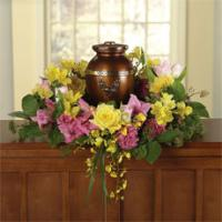 Yellow Roses, Pink Carnations & Yellow Alstroemeria Memorial Wreath for a Urn by McAdams Floral, Victoria|Cuero|Goliad|Edna|Port Lavaca, Texas (TX)  Funeral Florist
