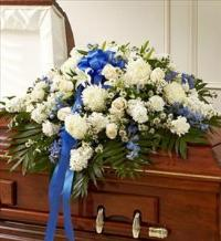 Blue And White Half Casket Cover by McAdams Floral, Victoria|Cuero|Goliad|Edna|Port Lavaca, Texas (TX)  Funeral Florist