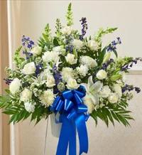 Blue and White Sympathy Standing Basket by McAdams Floral, Victoria|Cuero|Goliad|Edna|Port Lavaca, Texas (TX)  Funeral Florist