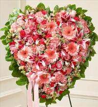 Pink Mixed Flower Heart by McAdams Floral, Victoria|Cuero|Goliad|Edna|Port Lavaca, Texas (TX)  Funeral Florist