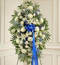 Blue and White Sympathy Standing Spray by McAdams Floral, Victoria|Cuero|Goliad|Edna|Port Lavaca, Texas (TX)  Funeral Florist