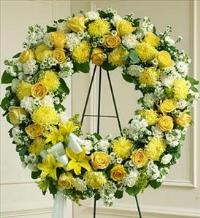 Yellow and White Standing Wreath by McAdams Floral, Victoria|Cuero|Goliad|Edna|Port Lavaca, Texas (TX)  Funeral Florist