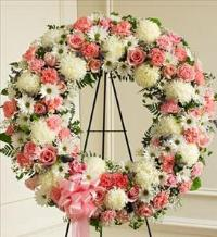 Pink and White Standing Wreath by McAdams Floral, Victoria|Cuero|Goliad|Edna|Port Lavaca, Texas (TX)  Funeral Florist