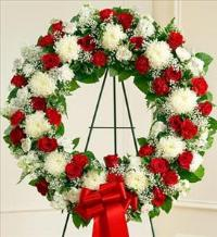 Red and White Standing Wreath by McAdams Floral, Victoria|Cuero|Goliad|Edna|Port Lavaca, Texas (TX)  Funeral Florist