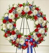 Red, White and Blue Standing Wreath by McAdams Floral, Victoria|Cuero|Goliad|Edna|Port Lavaca, Texas (TX)  Funeral Florist