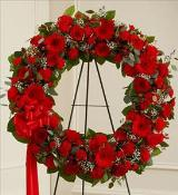 Red Mixed Standing Wreath by McAdams Floral, Victoria|Cuero|Goliad|Edna|Port Lavaca, Texas (TX)  Funeral Florist
