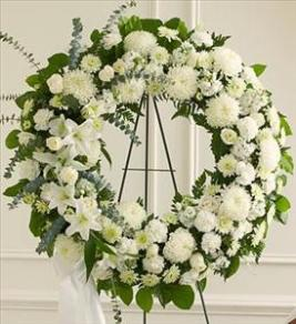 All White Standing Wreath by McAdams Floral, Victoria|Cuero|Goliad|Edna|Port Lavaca, Texas (TX)  Funeral Florist
