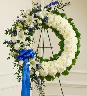 Blue and White Standing Wreath by McAdams Floral, Victoria|Cuero|Goliad|Edna|Port Lavaca, Texas (TX)  Funeral Florist