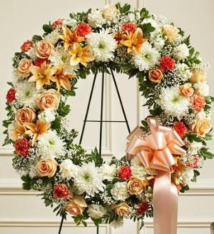 Peach, Orange and White Standing Wreath by McAdams Floral, Victoria|Cuero|Goliad|Edna|Port Lavaca, Texas (TX)  Funeral Florist