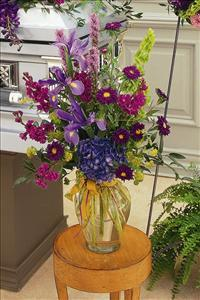 Blues & Purples in Glass Vase by McAdams Floral, Victoria|Cuero|Goliad|Edna|Port Lavaca, Texas (TX)  Funeral Florist