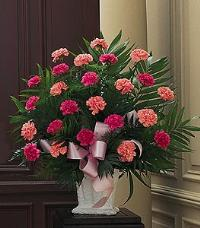 Basket with Pink Carnations by McAdams Floral, Victoria|Cuero|Goliad|Edna|Port Lavaca, Texas (TX)  Funeral Florist