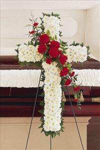 White & Red Cross by McAdams Floral, Victoria|Cuero|Goliad|Edna|Port Lavaca, Texas (TX)  Funeral Florist